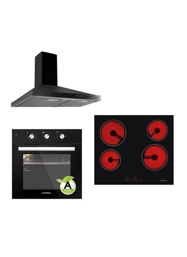 Luxell Luxell Siyah 3 Prg Project Vitroseramik Ocaklı Ankastre Set ( Termostatlı Fırın ) Siyah